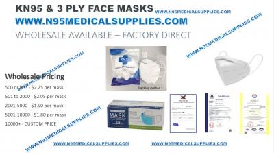 KN95 RESPIRATOR & 3 PLY MASK MASKS FDA AND CE CERTIFIED