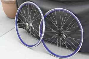 700c Vuelta blue deep dish wheelset (7spd) - $50 (Burbank)